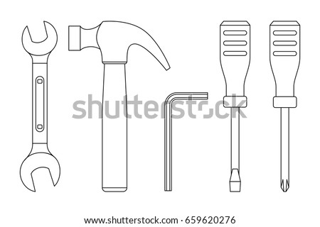 Tools line drawings. Icons of screwdrivers, spanner, hammer.
