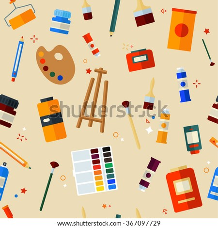 Tools Materials for Creativity and Painting Seamless Pattern. Flat Style in Vector