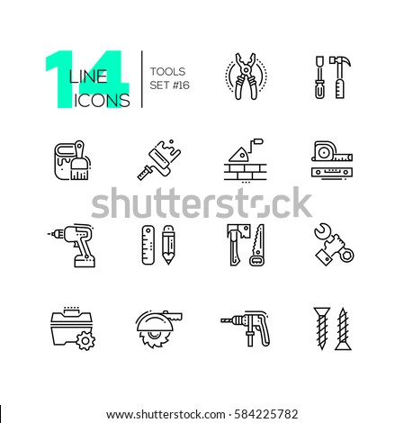 Tools - modern vector single line icons set. Pliers, screwdriver, hammer, paint, brush, roller, brick, trowel, tapeline, level, drill, pencil, ruler, saw, axe, wrench, hand, toolbox