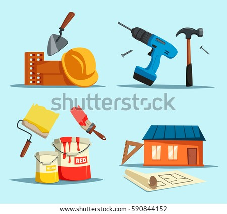 Tools or accessories for house building, construction repair. Drill and hammer, trowel or shovel near bricks and worker helmet, home with ruler and engineer drawing, paint brush. Maintenance theme