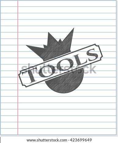 Tools pencil strokes emblem