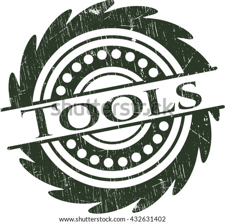 Tools rubber stamp with grunge texture