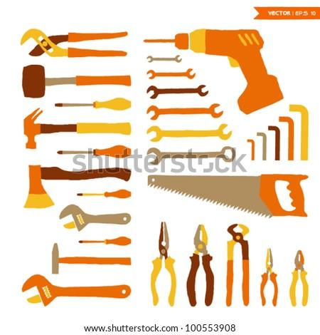 Tools set - stock vector