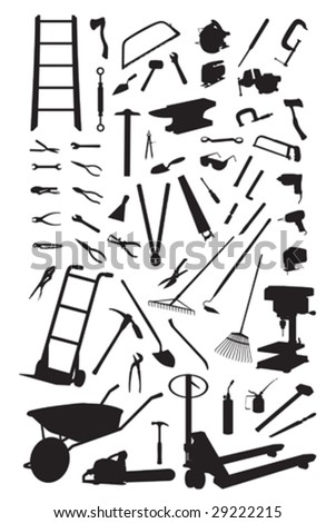 Tools silhouettes isolated on white. Vector illustration.