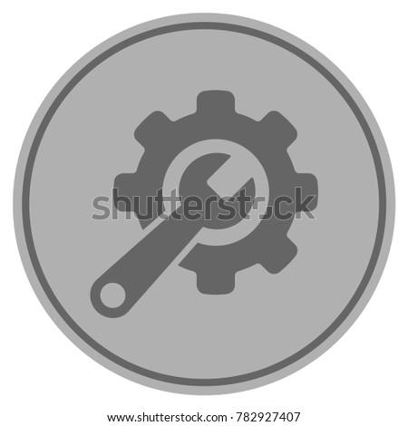 tools silver coin icon vector