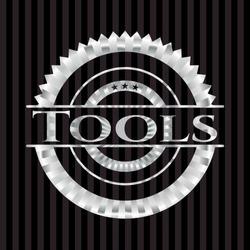 Tools silver emblem. Vector Illustration. Mosaic.
