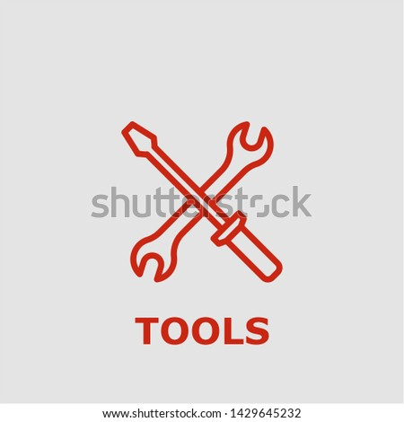 Tools symbol. Outline tools icon. Tools vector illustration for graphic art.
