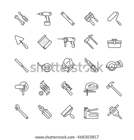 tools thin line icons set