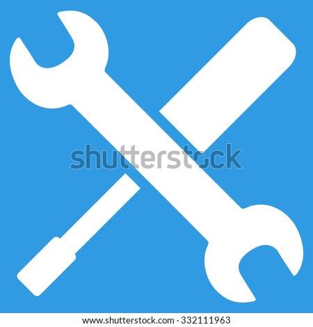 Tools vector icon. Style is flat symbol, white color, rounded angles, blue background.