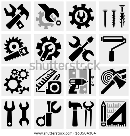 Tools vector icons set on gray