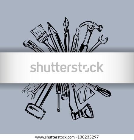 tools vector set vector illustration realistic sketch