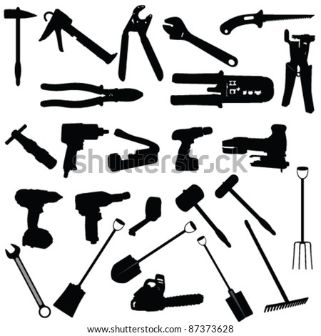 tools vector silhouette illustration on white background