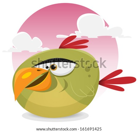 Toon Exotic Bird/ Illustration of a funny tiny cartoon tropical parrot bird character smiling on a pink sky background