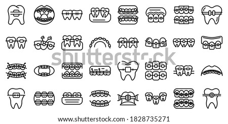 Tooth braces icons set. Outline set of tooth braces vector icons for web design isolated on white background