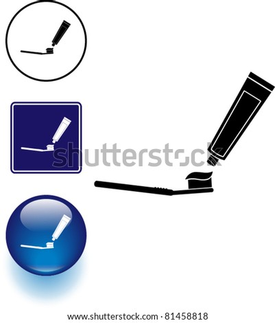 tooth brushing symbol sign and button