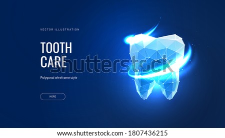 Tooth care futuristic vector illustration in polygonal style. Tooth enamel cleaning or dental whitening. Dental oral hygiene isolated on blue background
