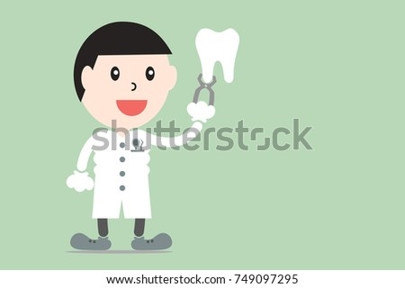 tooth cartoon vector flat style for design - male dentist showing healthy teeth with dental plier, dental care concept