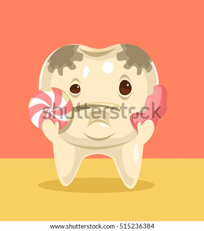 tooth character with candy
