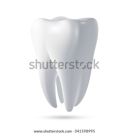Tooth, 3D render. Dental, medicine and health concept design element. Vector EPS10 illustration.