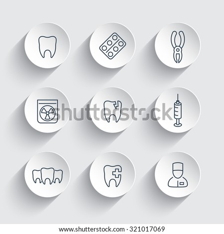 Tooth dental care dental pliers dentist tooth cavity line round icons vector illustration
