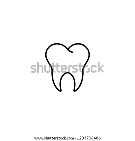 tooth dentist clinic symbol line black icon on white background