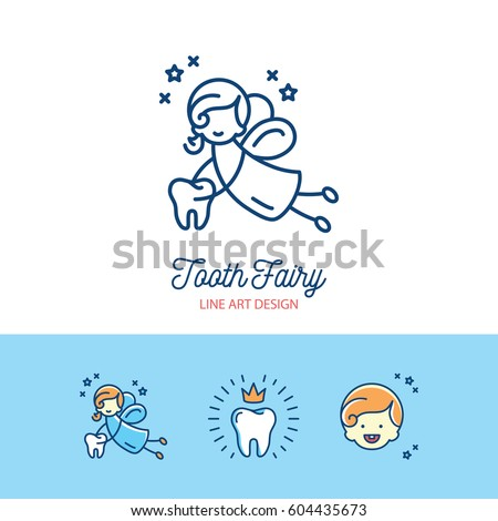 Tooth Fairy logo children's dentistry thin line art icons