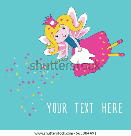 Tooth fairy with magic wand and stars. Vector illustration on turquoise background. Place for your text #663884491