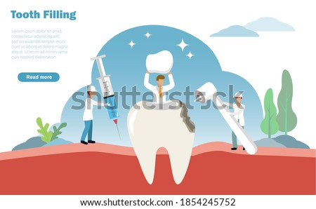 Tooth filling and dental treatment concept. Dentists injecting anaesthetic, drilling decay tooth and filling to patient dent. Vector Illustration. ストックフォト ©