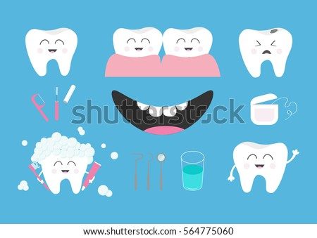 Tooth health icon set. Toothpaste, toothbrush, dental tools instruments, thread, floss, mirror, brush, water. Children teeth care. Oral hygiene Baby background Flat design Vector illustration