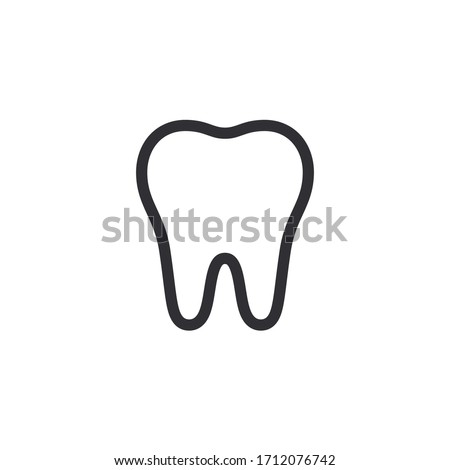 Tooth icon. Dentistry symbol. Medical sign. Dentalhealth. Tooth sign. Clean tooth. White and healthy tooth. Dental care. Vector icon. Medical care. Logo template. Silhouette.