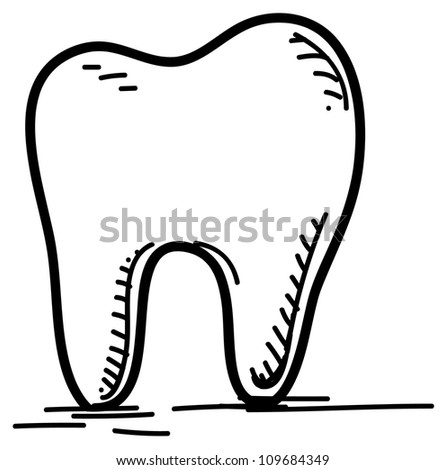 Tooth icon isolated on white. Hand drawing sketch vector illustration