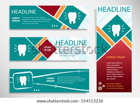 Tooth icon on horizontal and vertical banner. Modern abstract flyer, banner, brochure design template.