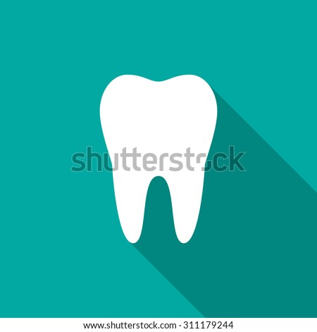 Tooth icon with long shadow. Flat design style. Tooth simple silhouette. Modern, minimalist icon in stylish colors. Web site page and mobile app design vector element.