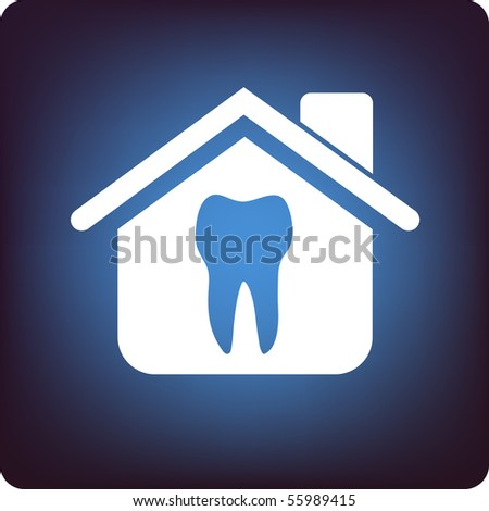 Tooth inside a house on blue background