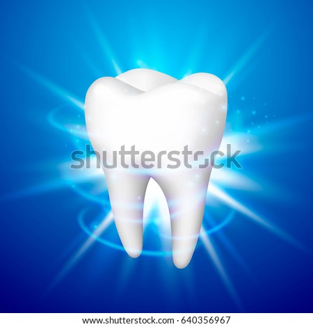 Tooth on a blue background. Template design element, Vector illustration
