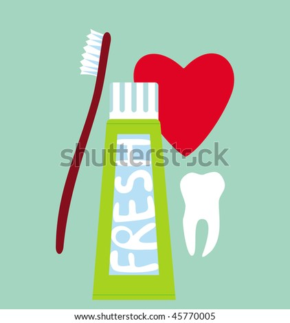 Tooth toothpaste and toothbrush