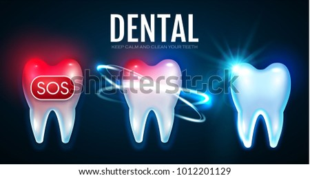 Tooth Treatment Process with Motion Lights. Toothache. Helthy Teech. Stomatology Design Template. Dental Health Concept. Oral Care. Vector illustration
