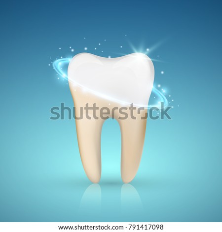 Tooth whitening concept, Teeth Whitening, glowing effect, vector illustration