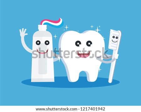 Tooth whitening, happy, healthy, white teeth, toothpaste and brushes, toothbrushes, vector, illustration