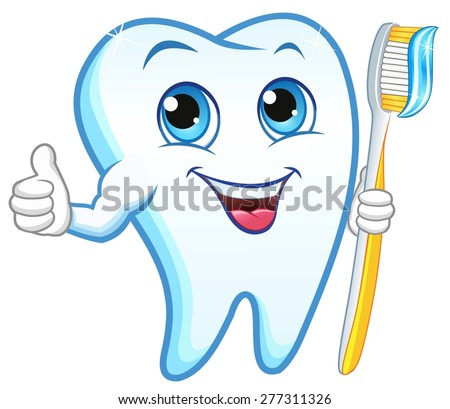 tooth with a toothbrush  smiling