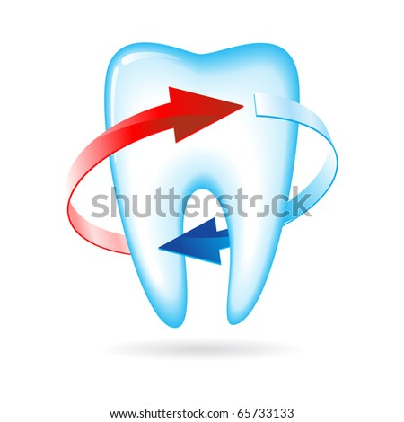 Tooth with arrows. Vector illustration on white