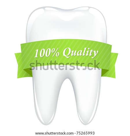 Tooth With Green Ribbon, Isolated On White Background, Vector Illustration