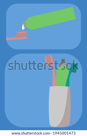 toothbrush and dentifrice on vertor Photo stock ©