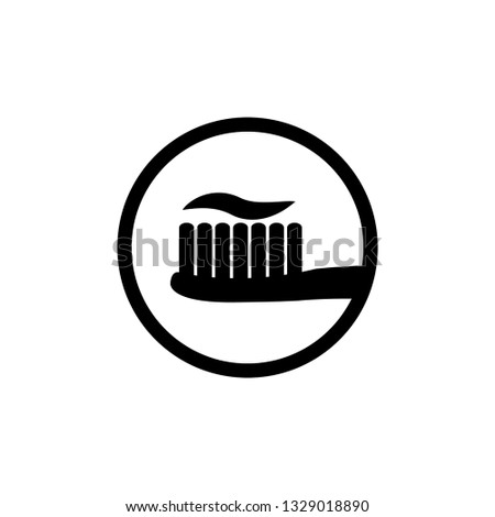 Toothbrush and toothpaste - black vector icon  #1329018890