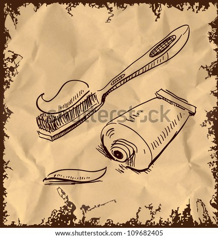 Toothbrush and toothpaste icon isolated on vintage background. Hand drawing sketch vector illustration