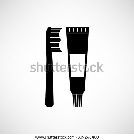 Toothbrush and toothpaste - vector icon