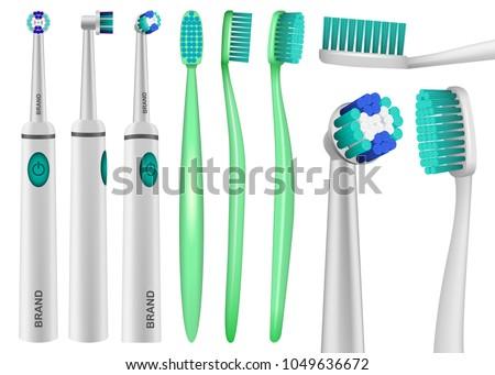 Toothbrush dental mockup set. Realistic illustration of 9 toothbrush dental mockups for web #1049636672