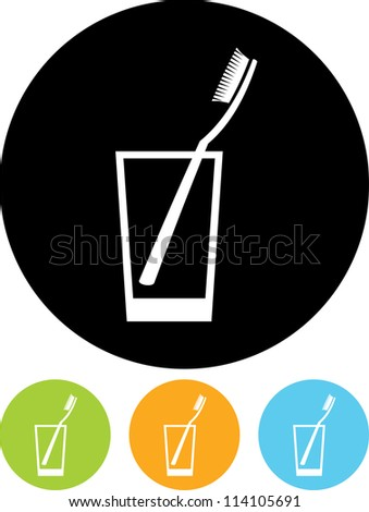 Toothbrush in a glass - Vector icon isolated