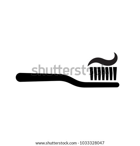 Toothbrush with toothpaste silhouette. Simple pictogram isolated on background. Dental care concept. Oral hygiene. Vector illustration flat design. Isolated on white background. #1033328047