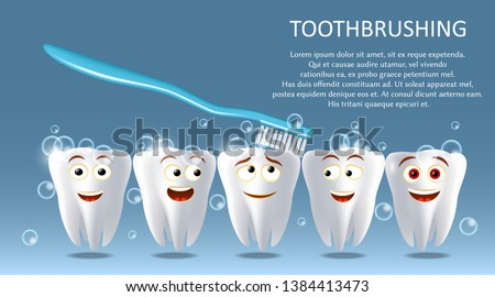 Toothbrushing vector poster banner template. Happy smiling healthy and white teeth brushing with toothbrush. Oral care, tooth cleaning and hygiene concept. #1384413473
